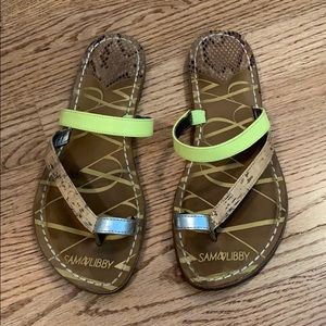 Neon yellow and tan Sam & Libby sandals